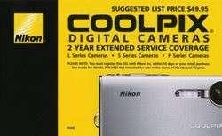 Nikon 2 Yr Extended Warranty on Coolpix Digital Cameras 018208054824