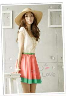 New Love Free S&H red Cotton womens mini dress + Belt 5110