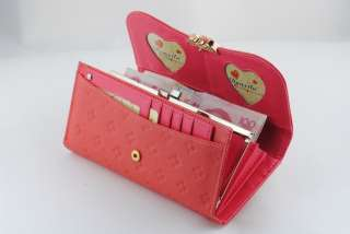 Fashion Womens Clutch LOVE Wallet Red Sheepskin Leather High Quality