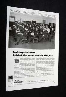 Allison J35 Turbo jet engine technical school class Ad