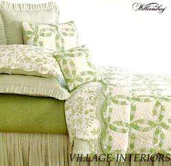 FRENCH COUNTRY GREEN WHITE WEDDING RING QUEEN QUILT SET