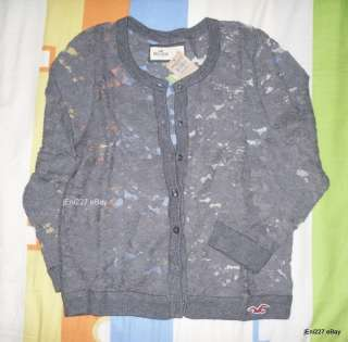 Abercrombie HOLLISTER Bettys El Morro Dark Gray Lace Cardigan S