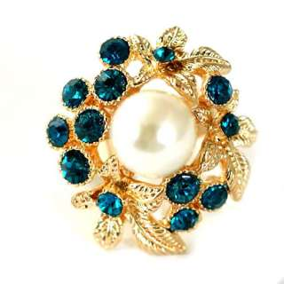 r6088 Lady Imitate Pearl Gemstone Gold plate Blue Diamante Adjustable