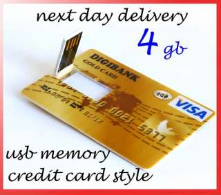 NEW 4GB Ultra Slim GOLD Credit Card Style USB Flash Memory Stick Drive
