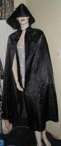 Goth Gothic Vampire Wicca Pagan Black Hooded Cape Cloak