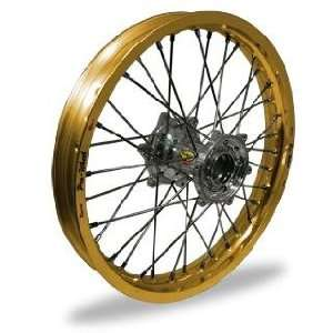Pro Wheel Supermoto Front Wheel Set   17x3.50   Gold Rim/Silver Hub 26