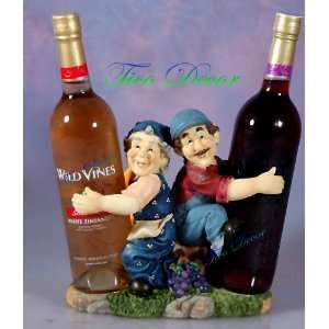 Funny Farmers Grandma /Grandpa WINE BOTTLE BASKET HOLDER