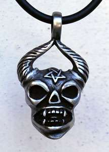 Pentagram Demon Devil Satan Pewter Pendant W Choker