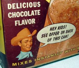 1950s NESTLES QUICK CAN w ROY ROGERS PROMOTIONAL OFFER