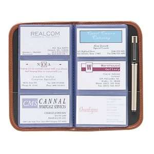 Gloss Faux Leather Business Card Book, 120 Card Cap, 6 1/8 x 9, BK