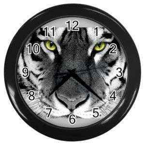 King White Tiger Round Wall Clock Black GIFT DECOR COL