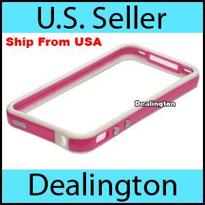 Apple iPhone 4 White+Pink Bumper Case w/ Metal Buttons