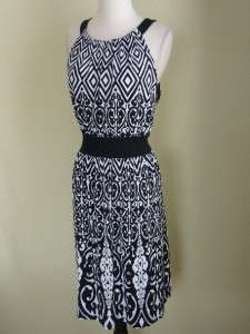 NWT WHITE HOUSE BLACK MARKET SCROLL PRINT JERSEY DRESS XL