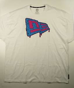 NEW ERA SLIME FLAG White Neon Pink Blue Logo Graphic Mens 5XL T Shirt