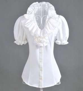 White Short Sleeve Designer Vintage Lady Ruffle Collar Sleeve Shirt