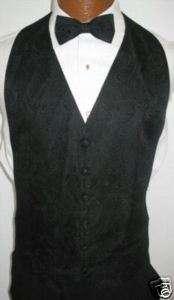 Black Paisley Tuxedo Vest / Tie Prom Wedding Large