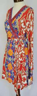 HALE BOB Floral Jersey Wrap Dress S 4 6 UK 8 10 NWT Small Red Beaded