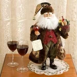 Karen Didion Burgandy Wine Basket Santa 16 Figurine