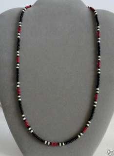 Dark Red + Black Mens, Women Necklace Native American