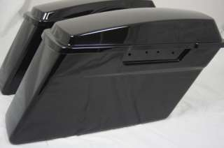 Vivid Black ABS Harley HD Touring Hard Saddle bags Saddl Road