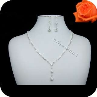 Bridal Party Wedding Crystal Necklace Earrings Set N239