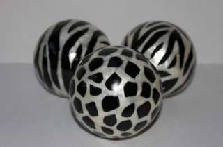 DECORATIVE ORBS VASE FILLERS ACCENT BALLS SPHERES   ANIMAL PRINT BLACK