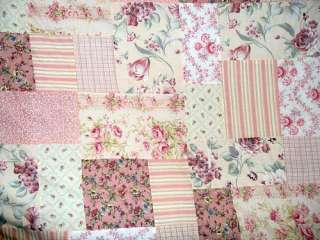 VTG CHIC PINK BLOCK QUILT HAND STITCHES SHABBY ROSE GARDEN ROMANTIC