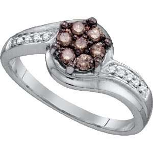 Beautiful Flower Ring Amazingly Designed in 10K White Gold