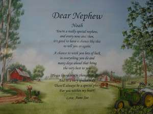 DEAR NEPHEW PERSONALIZED POEM JOHN DEERE PRINT BIRTHDAY OR CHRISTMAS