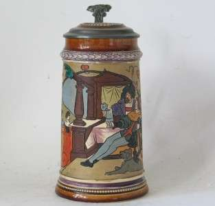 Antique Etched Beer Stein by J.W.Remy #908 c.1900