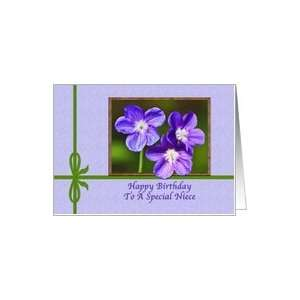 Happy Birthday Niece, Violas in Purple Card: Health