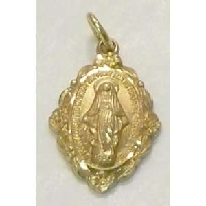Catholic Mother Mary Oval Shape Small Solid Gold Pendant