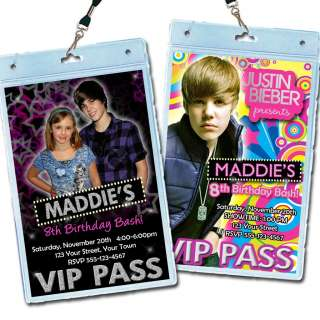 Bieber Invitations * Birthday Party Invites VIP Pass Favors *