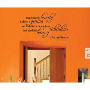 Mural Decal Sticker   Imperfection Is Beauty   Marilyn Monroe Quote