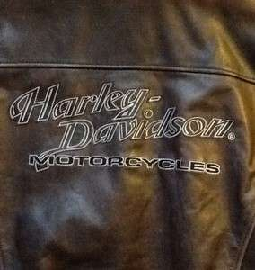 Davidson Classic Brown Distressed Leather Bomber Jacket Medium