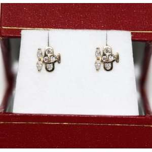 14K Yellow Gold pink helicopter Stud Earrings Jewelry