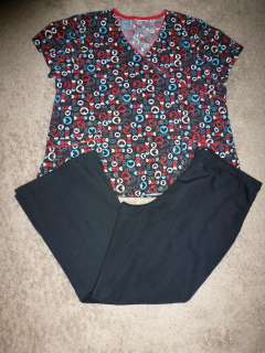NURSING uniform Nurse scrub TOP/PANTS size L/XL HEARTS BLACK Cherokee