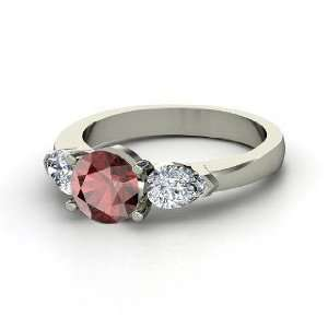 Triad Ring, Round Red Garnet 14K White Gold Ring with