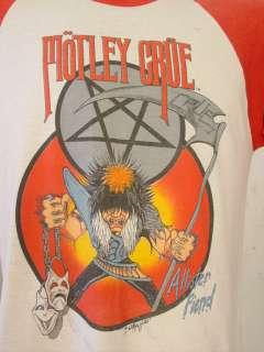 VINTAGE 1980S MOTLEY CRUE T SHIRT ROCK & ROLL CONCERT TOUR JERSEY
