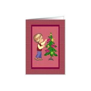 Cute Boy Pink Ribbons Christmas Card Card Health