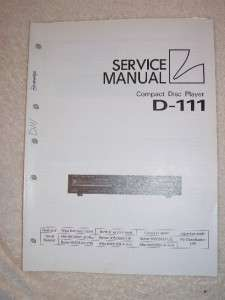 Luxman/Lux Service Manual~D 111 CD Compact Disc Player