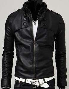 NEW Mens Slim Designed Sexy PU Leather Short Jacket 116