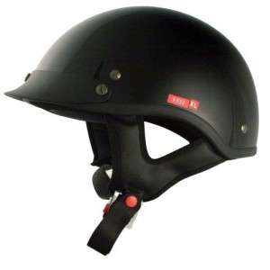 VCAN V531 Cruiser Solid Gloss Black Half Helmet, Large, New
