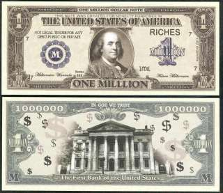 Lot of 25 BILLS  BEN FRANKLIN MILLION DOLLAR BILL NOVELTY NOTE