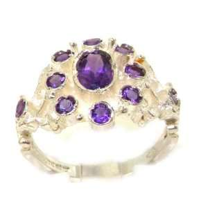 Unusual Solid Sterling Silver Natural Amethyst Ring with