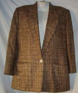 Womens Anne Klein II Brown Plaid Blazer Size 10