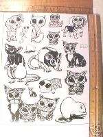 BIG EYED CATS, DOGS, CUTE, TURTLE ETC.UNM rubber stamps