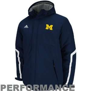 Michigan Wolverines adidas Navy Football Sideline Heavyweight Hooded