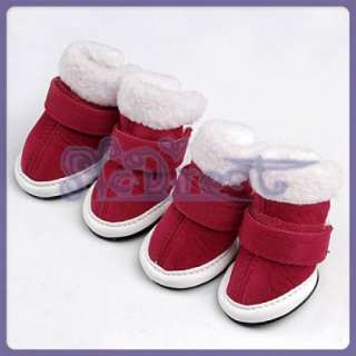 Fashion Pet Dog SANTA SNOW Boots Paw Covers Non Skid S