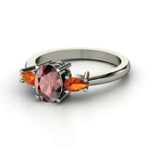 Sydney Ring, Oval Red Garnet 14K White Gold Ring with Fire